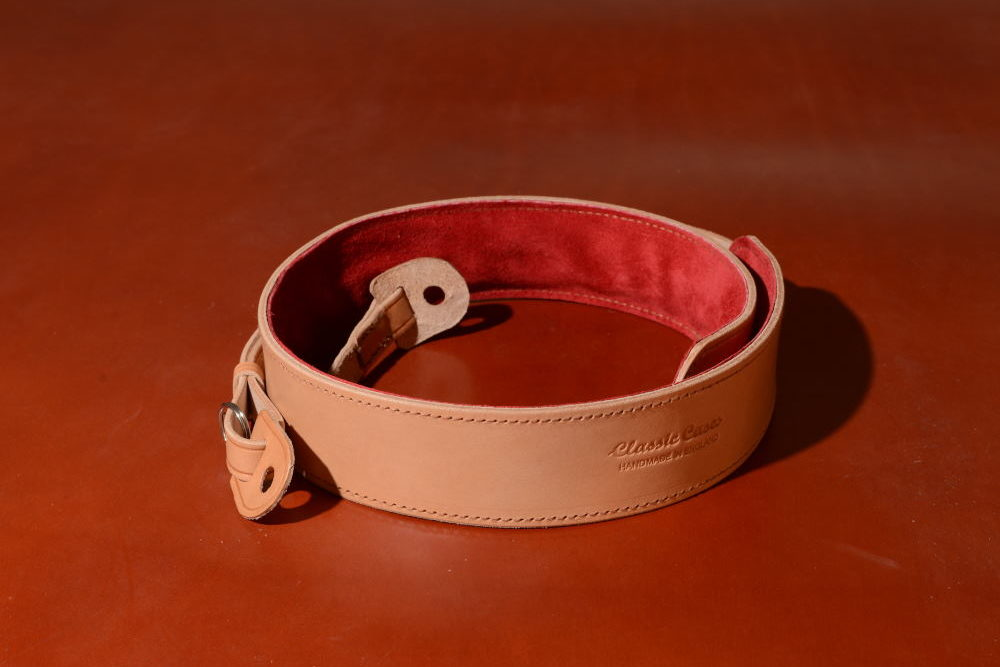 Padded Camera Neck Strap in Tan Leather