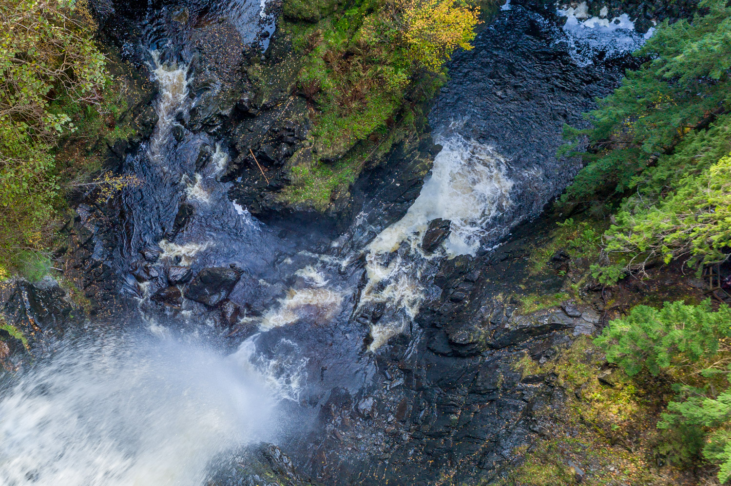 Drone like view from the platform at Plodda Falls Glen Affric
